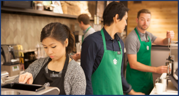 Image of Young Starbucks Workers
