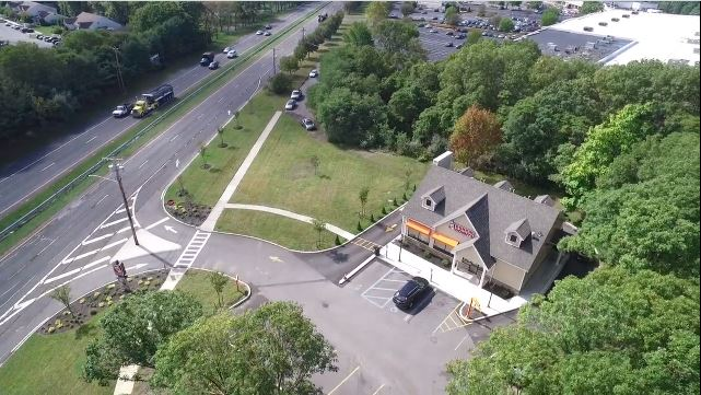 Aerial View of Double Net (NN) Dunkin' Building in East Setauket, NY
