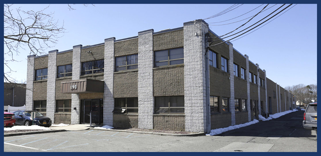 Exterior view of warehousing building on 190 Blydenburgh Road, in Islandia, NY.