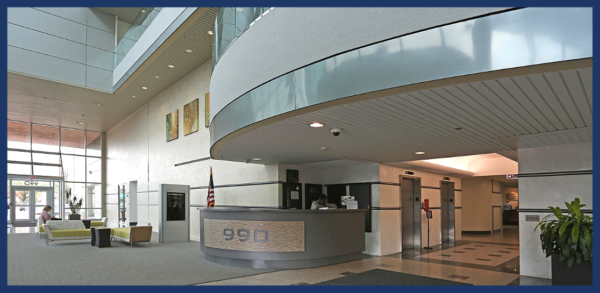 Interior view showing lobby of office building on 900 Stewart Ave, Garden City, NY.
