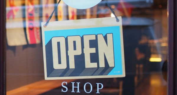 Image of an Open Sign on a Retail Shop Window