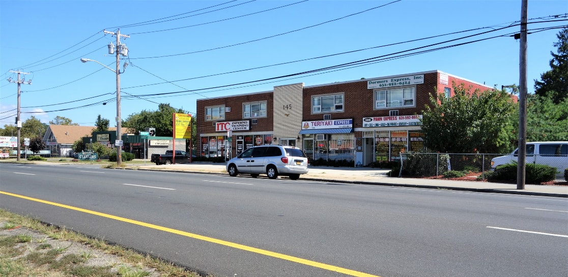 Diagonal shot of 145 East Sunrise Highway Stores
