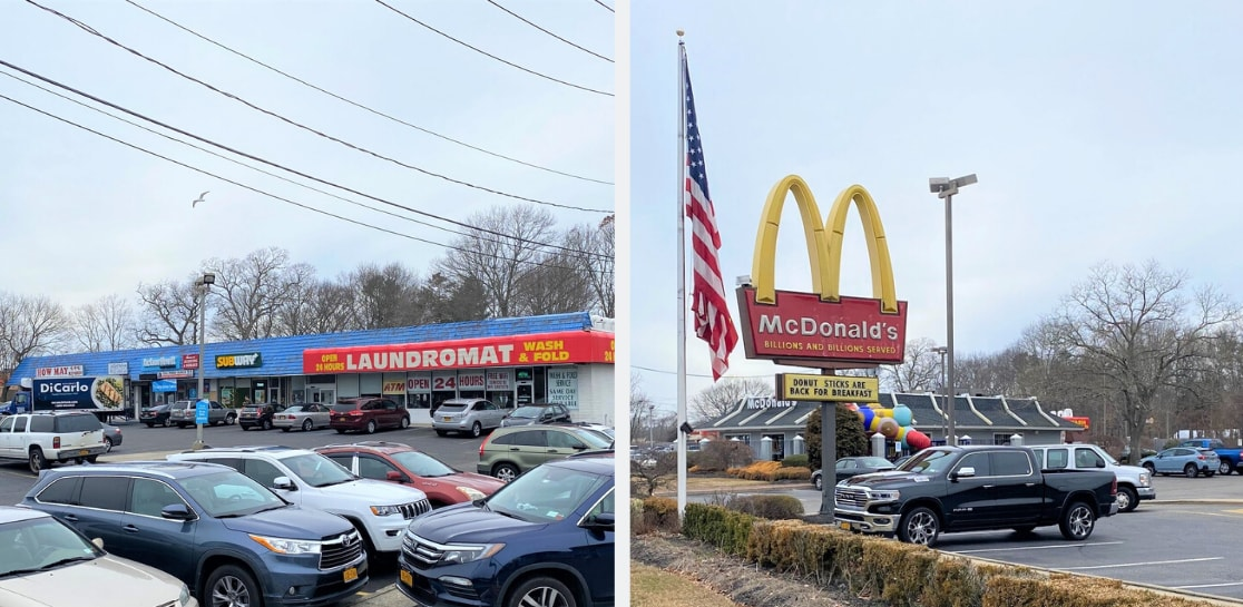 Split Image of Retail Property and McDonalds In East Patchogue, Long Island